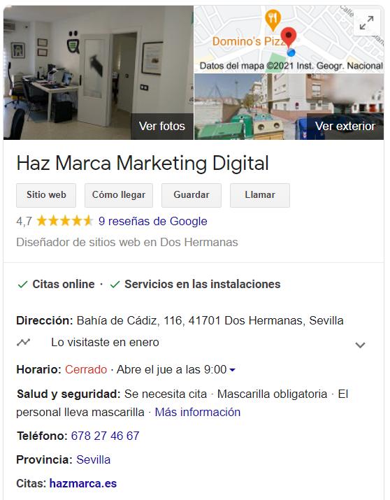 ejemplo de ficha en Google Maps